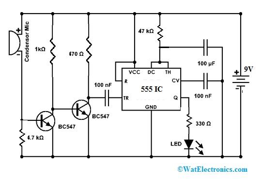 Clap Switch Circuit using 555 IC