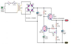 9v Regulated Power Supply Circuit Using Transistors And Zener