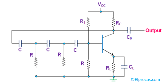 RC Phase Shift Oscillator Circuit Diagram Using BJT