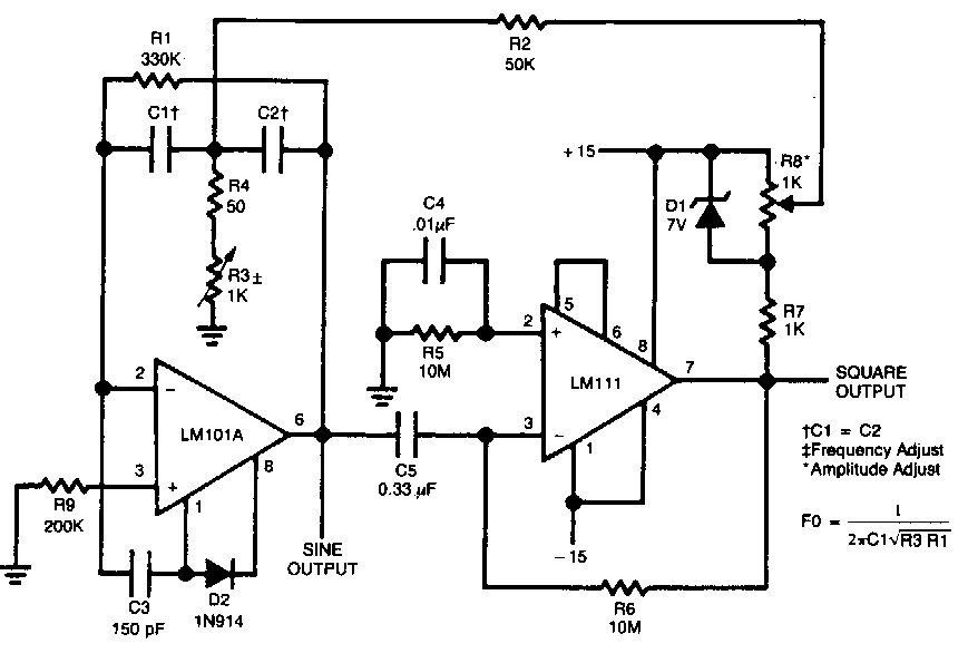 Square waveform generator circuit using LM IC