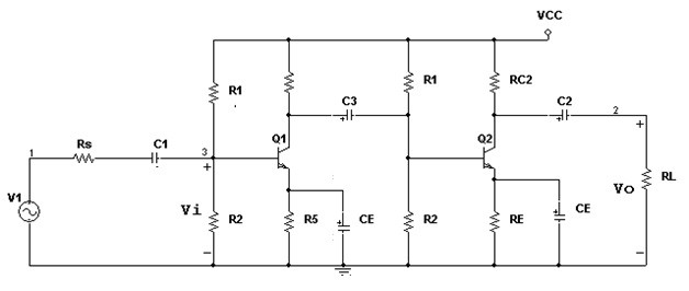 Two stage RC Coupled Amplifier