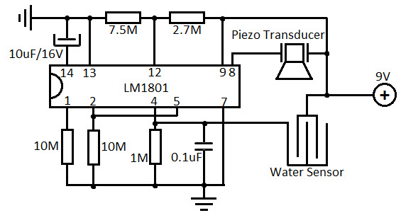 Water Level Alarm Circuit using Level Sensor
