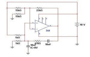 Wein bridge oscillator using IC741