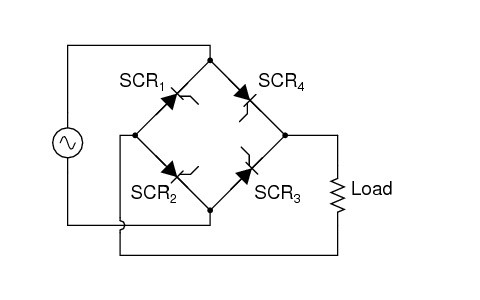 Bridge Rectifier Circuit Representing Controlled Rectifiers