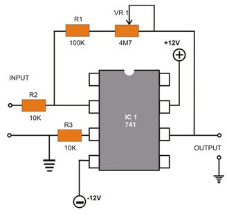 IC 741 Op-Amp Circuit Diagram