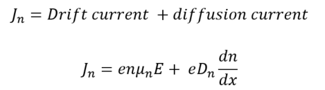 overall diffusion current density with respect to electrons